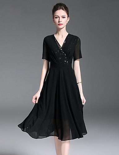 voordelige Korte jurken-A-lijn V-hals Tot de knie Polyester Bruidsmoederjurken met Lagen door LAN TING Express