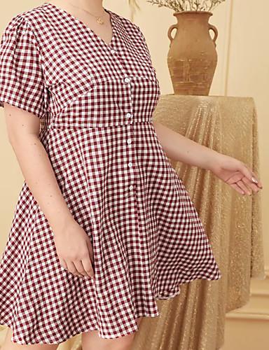 voordelige Grote maten jurken-Dames Vintage Elegant Schede Jurk - Blokken Tot de knie