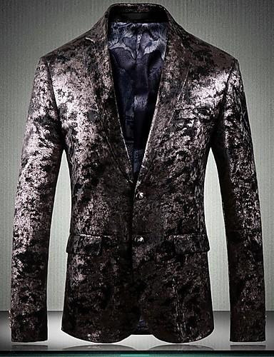 Erkek Blazer Çentik Yaka Polyester Altın US32 / UK32 / EU40 / US34 / UK34 / EU42 / US36 / UK36 / EU44