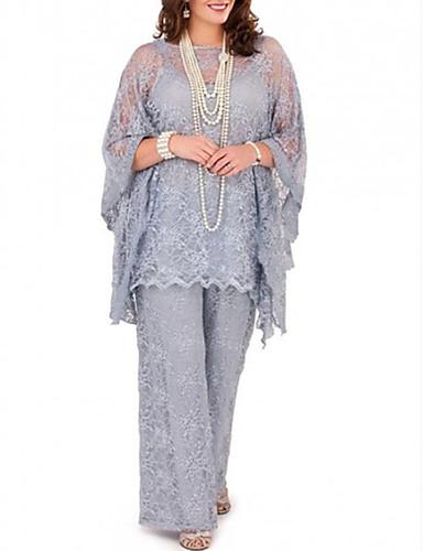 İki Parça / Pantsuit Bateau Boyun Yere Kadar Dantelalar Dantel ile Gelin Annesi Elbisesi tarafından LAN TING Express