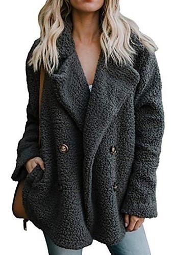 저렴한 여성 아웃웨어-여성용 일상 가을 겨울 보통 가짜 모피 코트, 솔리드 노치 라펠 긴 소매 인조 모피 블랙 / 라이트 그레이 / 브라운