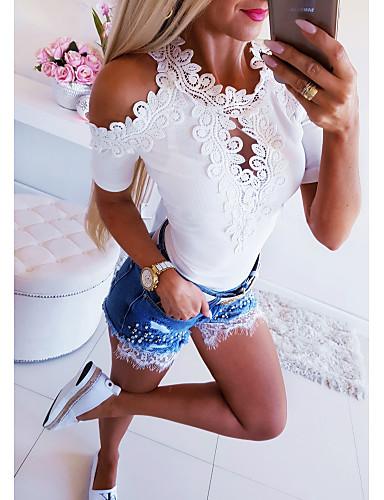 billige Topper til damer-T-skjorte Dame - Ensfarget, Blonde Grunnleggende Hvit