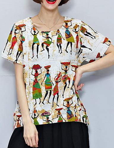 abordables Hauts pour Femme-Tee-shirt Femme, Géométrique Vert Claire