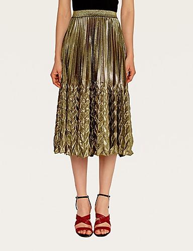 abordables Faldas para Mujer-Mujer Básico Línea A Faldas Un Color Dorado Plata L XL XXL