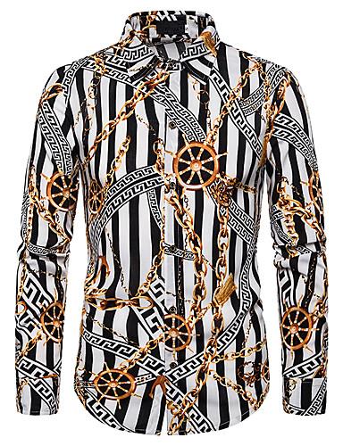 Erkek Gömlek Desen, Çizgili / Geometrik Temel Siyah ve Beyaz / Beyaz Beyaz