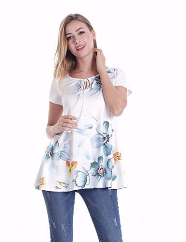 abordables Hauts pour Femmes-Tee-shirt Femme, Couleur Pleine / Géométrique Imprimé Bohème / Elégant Fleur du soleil Blanche