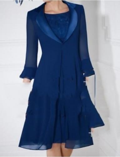 voordelige Wrap Dresses-Tweedelig Met sieraad Tot de knie Chiffon Bruidsmoederjurken met Ruches door LAN TING Express / Wrap inbegrepen