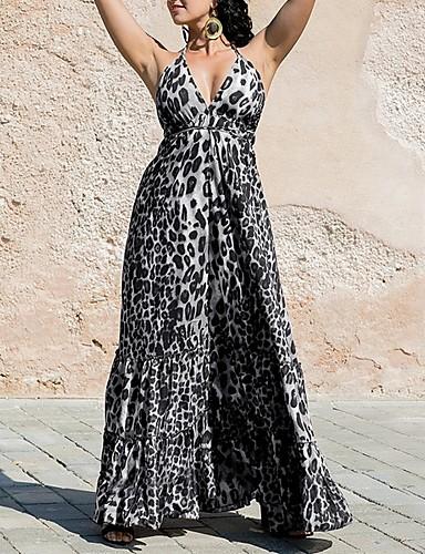 voordelige Maxi-jurken-Dames Schede Jurk - Geometrisch Maxi