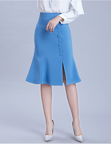 abordables Jupes-Femme Moulante Jupes - Couleur Pleine Noir Jaune Bleu M L XL