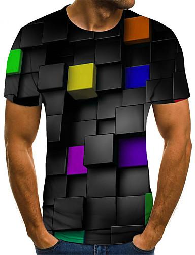 voordelige Uitverkoop-Heren Street chic / Punk & Gothic Print T-shirt Kleurenblok / Grafisch Zwart