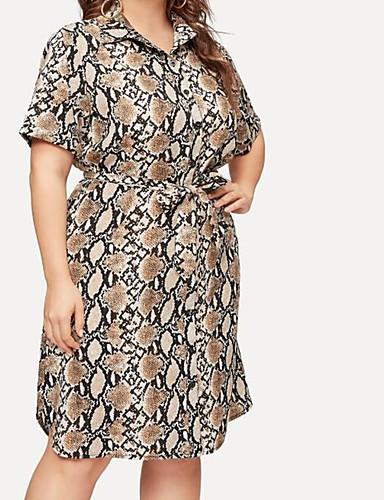 voordelige Grote maten jurken-Dames Standaard Elegant A-lijn Schede Jurk - dier, Strik Trekkoord Boven de knie Fantastic Beasts