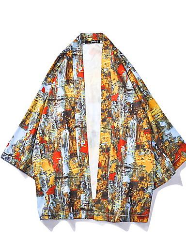 voordelige Herenjacks & jassen-Heren Dagelijks Normaal kimono Jacket, Geometrisch V-hals 3/4 mouw Polyester Geel