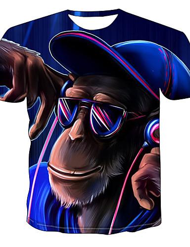 billige Tøffe T-skjorter til herrer-T-skjorte Herre - Fargeblokk / Dyr, Trykt mønster Gatemote / Punk & Gotisk Blå