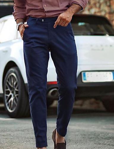 billige Herrebukser og shorts-Herre Basale Chinos Bukser - Ensfarvet Navyblå US32 / UK32 / EU40 US34 / UK34 / EU42 US36 / UK36 / EU44