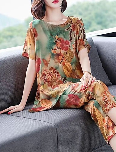 povoljno Ženske majice-Žene Vintage / Kinezerije Set - Cvjetni print / Geometrijski oblici / Duga, Print Hlače