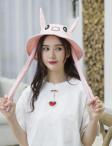 Kadın's sevimli Stil Polyester Kıvırılan Şapka Çiçek Desenli Siyah Beyaz Doğal Pembe