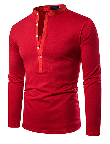 voordelige Heren T-shirts & tanktops-Heren Standaard Patchwork Polo Effen Zwart / Wit / Rood Zwart