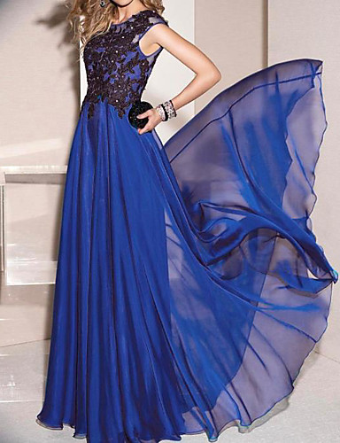 cheap Pre Sale-A-Line Jewel Neck Sweep / Brush Train Chiffon / Lace Dress with Appliques / Crystals / Pleats by LAN TING Express
