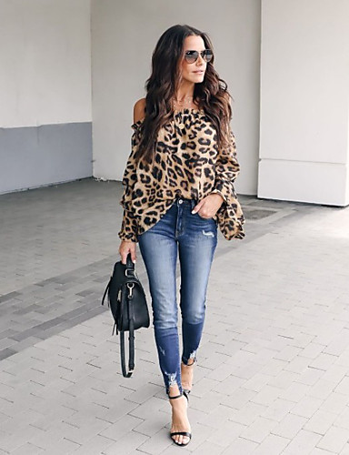 billige Topper til damer-Bluse Dame - Leopard, Lapper Gatemote