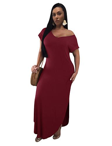 זול שמלות נשים-לבן אדום מקסי מפוצל, אחיד - שמלה נדן בסיסי אלגנטית בגדי ריקוד נשים