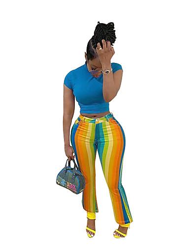 preiswerte Damen Hosen-Damen Aktiv / Street Schick Chinos Hose - Gestreift Streife Regenbogen M L XL