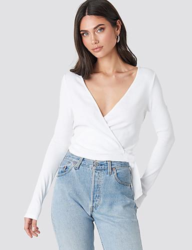 abordables Hauts pour Femme-Envelopper Femme, Couleur Pleine Lacet Elégant Noir & Blanc Blanche