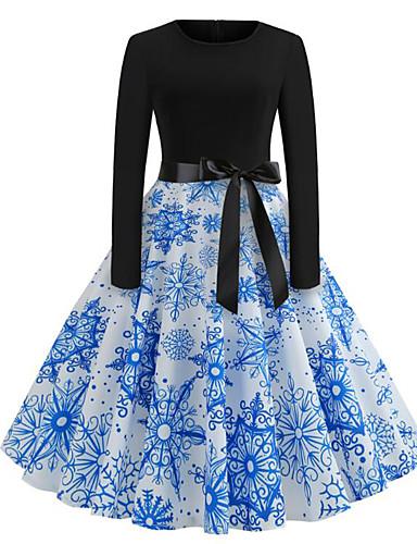 Kadın's Sokak Şıklığı Çan Elbise - Çiçekli, Desen Diz-boyu Noel Baba