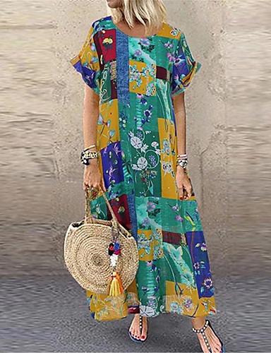 Kadın's Kılıf Elbise - Geometrik Maksi