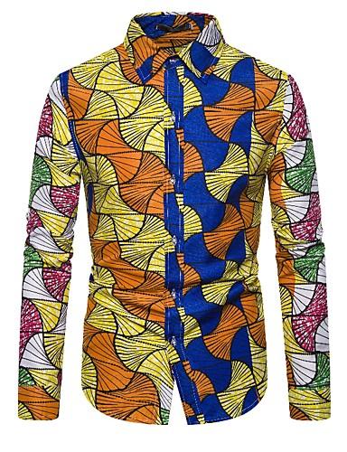 Erkek Gömlek Geometrik Punk ve Gotik Sarı