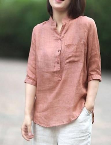Kadın's Gömlek Solid Temel Doğal Pembe