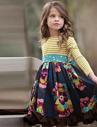 Barn Jente søt stil Blomstret Langermet Knelang Kjole Navyblå / Bomull