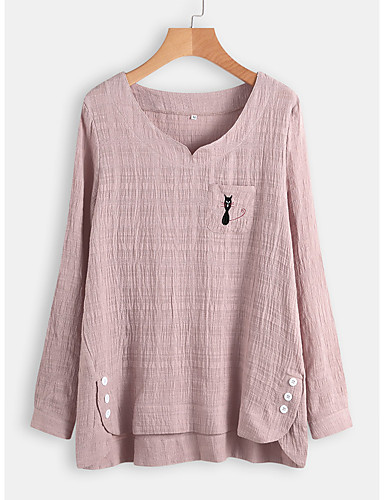 billige Topper til damer-Skjorte Dame - Stripet, Lapper / Jacquard / Broderi Bohem Kirsebær Rosa