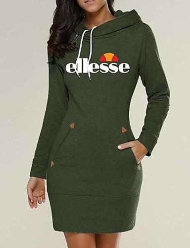 abordables Robes Femme-Femme Basique Chic de Rue Mini Moulante Gaine Tee Shirt Robe - Imprimé, Géométrique Noir Vin Vert S M L Manches Longues
