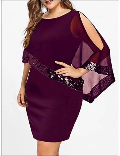 billige Kjoler-Dame Store størrelser Grunnleggende Løstsittende T skjorte Kjole - Ensfarget, Paljetter Lapper Ovenfor knéet