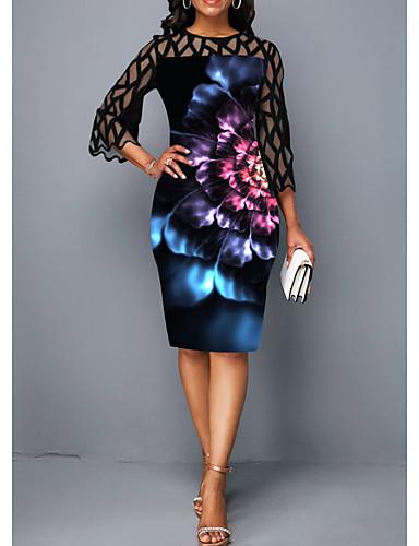 hesapli Kadın Elbiseleri-Kadın's Zarif Kılıf Elbise - Çiçekli, Dantel Diz-boyu