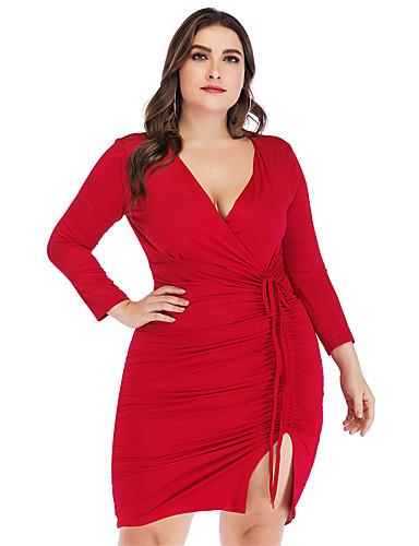 voordelige Grote maten jurken-Dames Standaard Bodycon Schede Jurk - Effen, Split Veters Mini
