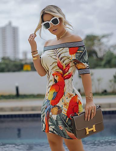 abordables Robes Femme-Femme Sophistiqué Elégant Au dessus du genou Moulante Gaine Noir Robe - Mosaïque Imprimé, Fleur Feuille tropicale Jaune S M L Demi Manches