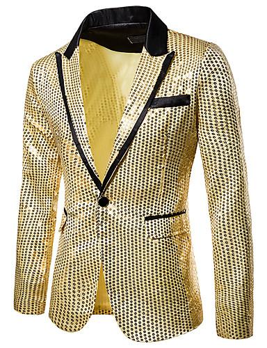 cheap Pre Sale-Men's Blazer, Solid Colored Notch Lapel Polyester Black / Purple / Gold US32 / UK32 / EU40 / US34 / UK34 / EU42 / US36 / UK36 / EU44