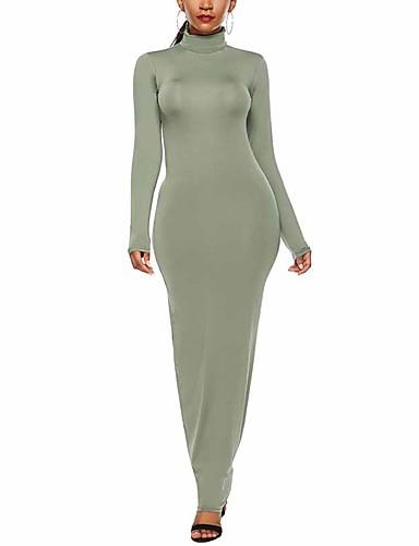 abordables Robes Femme-Femme Chic de Rue Elégant Maxi Moulante Gaine Robe Couleur Pleine Noir Vin Jaune S M L Manches Longues
