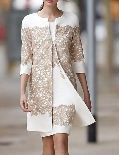 رخيصةأون فساتين للنساء-فستان نسائي قطعتين فوق الركبة ورد