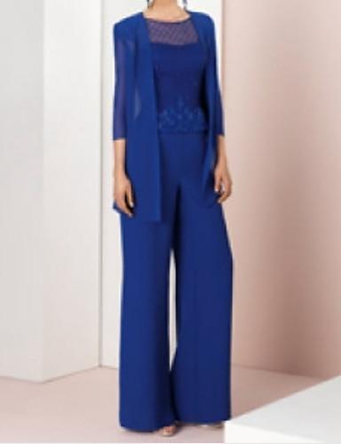 voordelige Wrap Dresses-pantsuit Met sieraad Tot de grond Chiffon / Kant Bruidsmoederjurken met Appliqués door LAN TING Express / Wrap inbegrepen