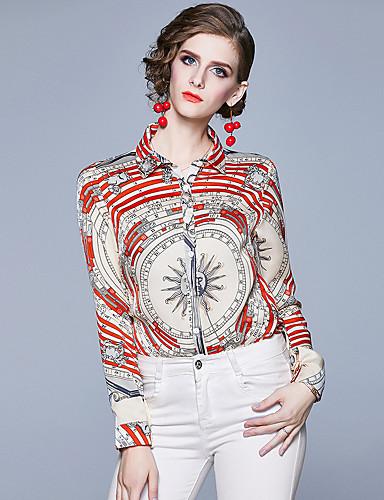billige Dametopper-Skjorte Dame - Geometrisk / Bokstaver, Trykt mønster Forretning / Elegant Hvit