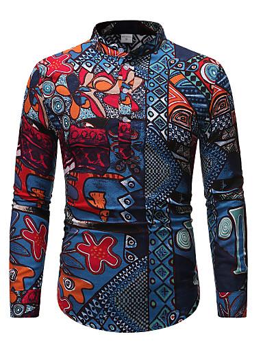 voordelige Herenoverhemden-Heren Street chic Print Overhemd Tribal Regenboog