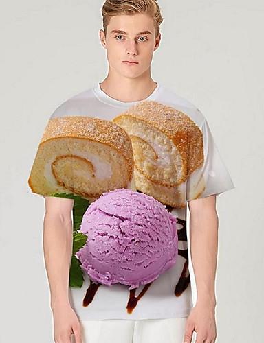 voordelige Heren T-shirts & tanktops-Heren Street chic / overdreven Print T-shirt Kleurenblok / 3D / Grafisch Paars