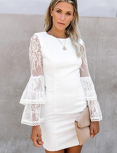 hesapli Mini Elbiseler-Kadın's Kılıf Elbise - Solid, Dantel Diz üstü