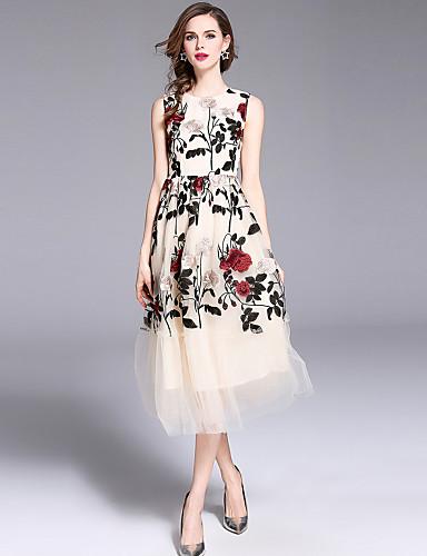 voordelige Maxi-jurken-Dames Elegant A-lijn Jurk - Bloemen, Netstof Geborduurd Maxi