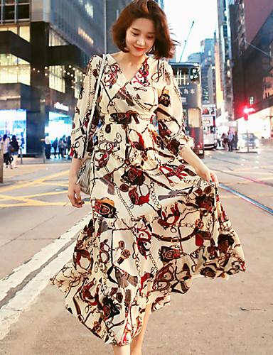 voordelige Maxi-jurken-Dames Verfijnd Schede Jurk - Geometrisch, Veters Midi