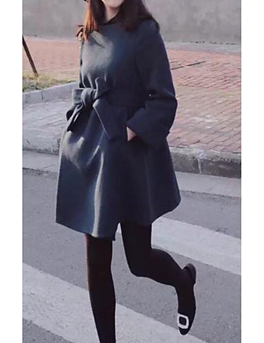 voordelige Damesjassen & trenchcoats-Dames Dagelijks Herfst winter Normaal Jas, Effen Ronde hals Lange mouw Polyester Marineblauw