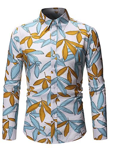 voordelige Herenoverhemden-Heren Standaard Print Overhemd Bloemen / Luipaard Tropisch blad Wit