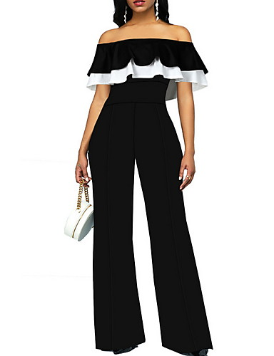 cheap Women's Jumpsuits & Rompers-Women's Basic Black Jumpsuit, Solid Colored Ruffle XS S M